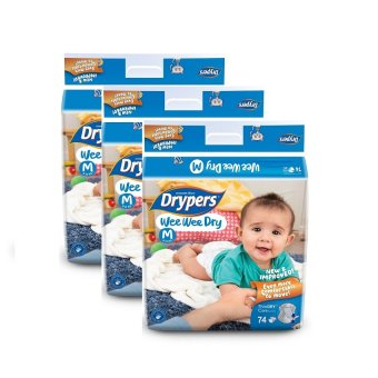 Harga Drypers Wee Wee Dry Mega Pack Medium 74's Pack of 3