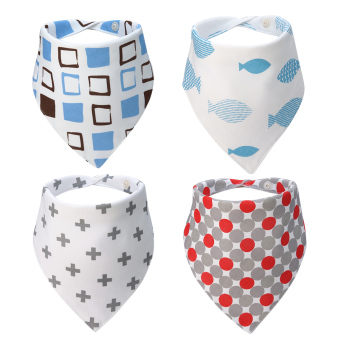 Habiter Baby Bandana Drool Bibs,Unisex Absorbent Cotton,Cute Baby Gift for Boys Girls Set of 4(Multicoloured) Price Philippines