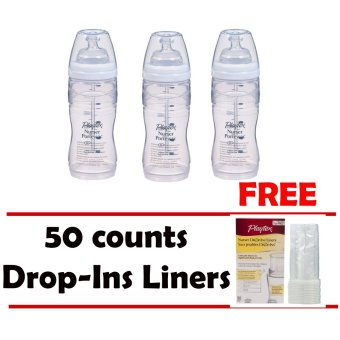 Harga 3 pack 8-10oz New Angled Playtex Nurser with Free 50 counts Drop-Ins Liners