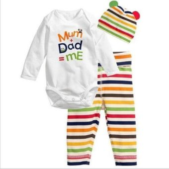 Harga Infant Newborn Mum Dad Me Baby Letter Printed Body Suit 3PCS Suit: Romper + Pants + Cap - intl