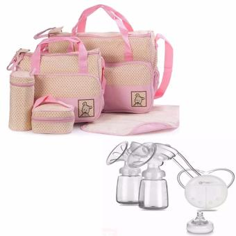 Harga 5pcs/Set Baby Changing Diaper Nappy Mummy Mother multifunctional Bags (Pink) WITH RH228 Mother Manual Double Electric Breast Pump (White)