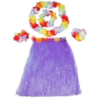 Hot Dazzling Hawaiian Luau Party Decorations Costumes Set with 40CM Length Skirt + Headwear Headband + Lei Garland + Wristbands Purple Price Philippines