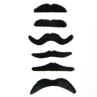6pcs/lot Costume Party Halloween Fake Mustache Funny Fake Beard Whisker - intl Price Philippines