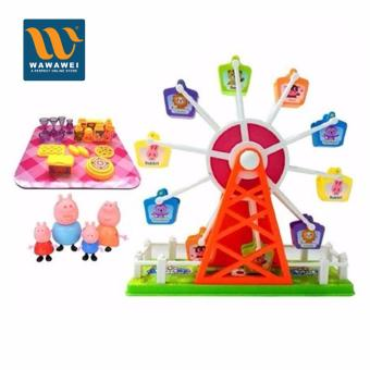 Peppa Pig toys Amusement park The ferris wheel Play toys 4pcs Doll Cartoon Pig Toys kids Best Gift Pig Toys Price Philippines