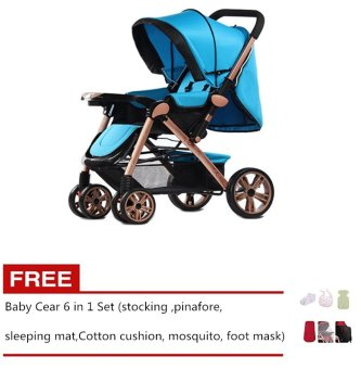 Angel Baby Two-way Four-wheel Folding Aluminum Alloy Baby Stroller Blue Free Baby Care 6 in 1 Set Price Philippines