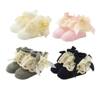 Jiayiqi 1 Pairs Baby Girls Pearl Bowknot Lace Ruffle Socks Comfy Cotton Mesh Sock for 0-12 Months ( Random Color ) - intl Price Philippines