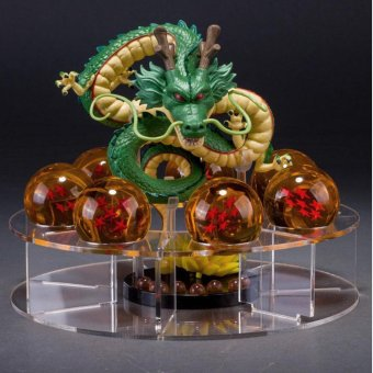 leegoal Collectable Shenron And Dragon Ball Set: 1 Pc Plastic Figure Dragon Shenlong + 7 Pcs Crystal Balls 1.7 Inch Diameter 3D Stars + 1 Pc Acrylic Shelf, Augury Balls - intl Price Philippines