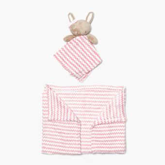 Harga Bloom Chevron Fleece Blanket with Washcloth Rabbit Toy (Pink)
