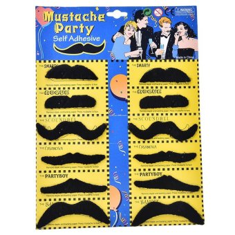 12PCs Self Adhesive Assorted Fake Moustache Mustache Hallow Cosplay Fancy Party - intl Price Philippines