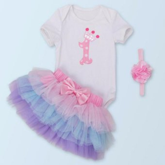 New Rainbow Cake Smash Dress Baby Girls 1st First Birthday Bodysuit Romper Summer Outfit - intl Price Philippines