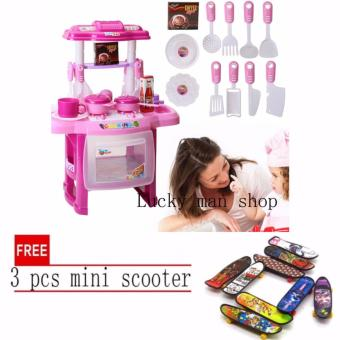 Harga lazada and USA best selling Kitchen Set (Pink) with free 3 pcs mini scooter