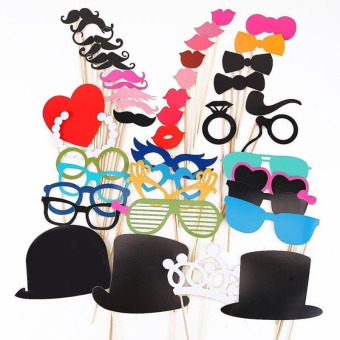 YBC 44pcs Wedding Birthday Party Photo Booth Props Glasses Mustache Lip Price Philippines