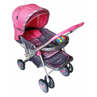 Baby 1st Stroller reversible handle and full recline w/ food tray and toy S034EB (Pink) Price Philippines