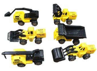 Harga Mini Machine Caterpillar Construction Toy Truck Vehicle Play Set Kids toys Racing cars Models mini Pull-Back Vehicle Simulation Engineering Vehicles Excavator Inertia Car Boys Set for Children (6pcs/Set)