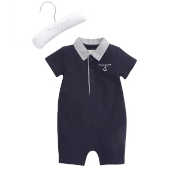 Harga Mamas and Papas Welcome to the World Navy Pique Romper (Navy/Grey)