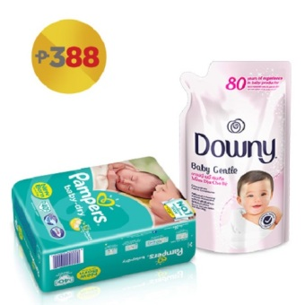 Harga Pampers Baby Dry Taped Diaper NB 40's with Downy Baby Gentle 800ml