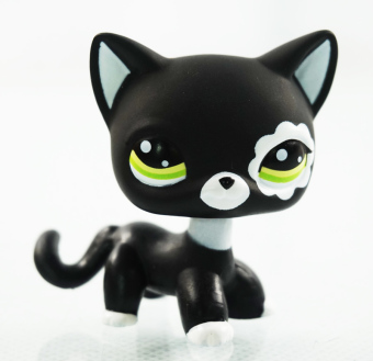 2'' Rare Black Cat Green Eyes Flower Patch Kids Toys Animals Littlest Pet Shop LPS #2249 Girl toys Kitty - Intl Price Philippines