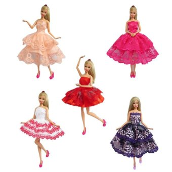 5 set of Handmade Barbie Dresses Clothes Outfit for Barbie Doll - intl Price Philippines