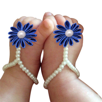 1 Pairborn Flower Imitation Pearl Barefoot Infant Toddler Kids Footwear Royal Blue - intl Price Philippines