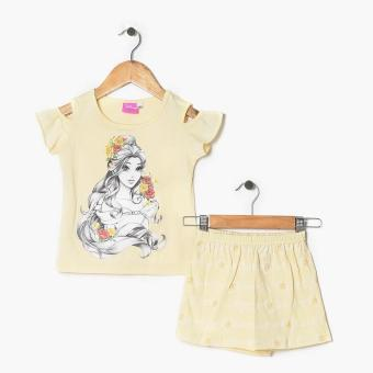 Disney Princess Girls Belle Cold-shoulder Top and Shorts Set (Yellow) Price Philippines