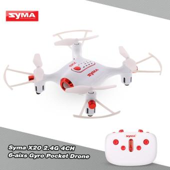 Harga Original Syma X20 2.4G 4CH 6-aixs Gyro Pocket Drone RC Quacopter RTF with Headless Mode Altitude Hold 3D-flip Function - intl