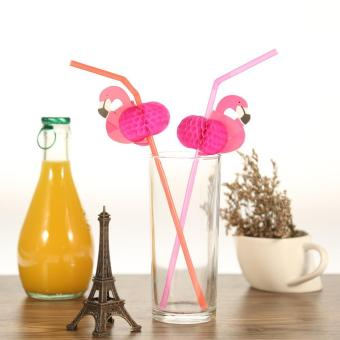 50pcs/set Cute Plastic Straws for Birthday Wedding Baby Shower Celebration and Party Multifunctional Straws with Flamingo Decorated - intl Price Philippines