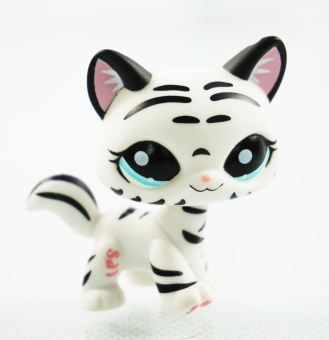 2'' Black & White Striped Cat Girl toys Blue Eyes Littlest Pet Shop LPS 1498 Kids Toys Kitty Animals - Intl Price Philippines