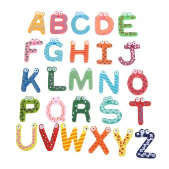 Harga EOZY New Wooden Alphabet Fridge Magnet Educational Study Toy For Children Kids - Multicolor