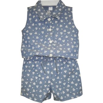 Harga Kid Basix Navy Chambray Culottes with Yellow Flower Print (Navy)