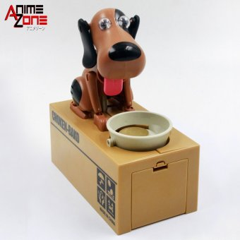 Harga Hungry Dog Eating Coins Money Box Automatic Stole Coin Piggy Bank (Brown/ Black)