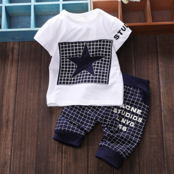 Baby Boy Star Short Sleeve T-shirt Short Pants Outfits Set Navy Blue - intl Price Philippines