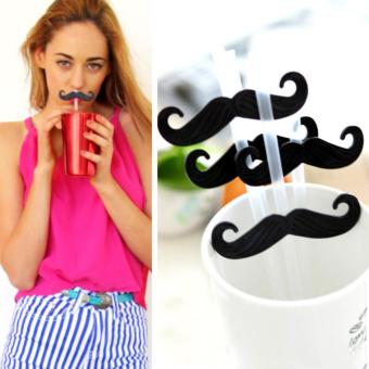 6 Pcs. Black Beard Straws Mustache Cartoon Wedding Party Supplies Price Philippines