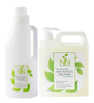 Nature to Nurture New Mom Essentials Baby Bottle & Dish Wash 1000ml and Liquid Laundry Detergent Free & Clear 1000ml pack Price Philippines