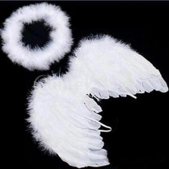 Hang-Qiao Baby Infant Angel Costume Feather Wings Fairy Props White Price Philippines