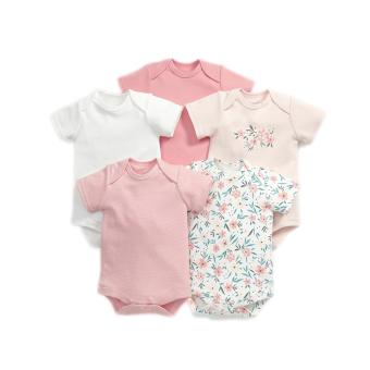 Harga Mamas and Papas Short Sleeved Floral Bodysuit Set of 5
