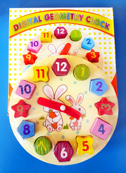Harga Wooden Rabbit Clock with Geometric Shapes Puzzle