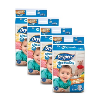Harga Drypers Wee Wee Dry Jumbo Pack Medium 52's Pack of 4