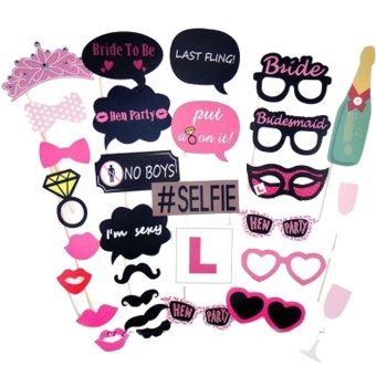 30pcs Photo Booth Props Kit Photobooth Prop Card Funny Eyeglasses Mustache Bowknot for Hen Bachelor Party Holiday Wedding Birthday Party - intl Price Philippines