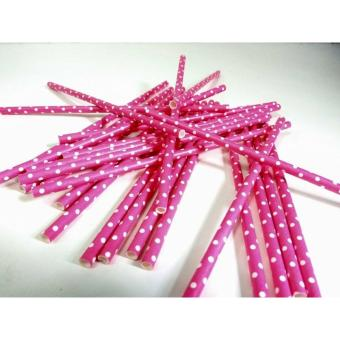 25pcs pink polka dots Paper Drinking Straws Wedding Party Biodegradable (pink) Price Philippines