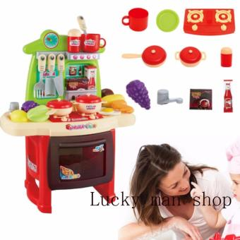 Harga lazada and USA best selling Very big Kitchen Set (RED) New design with sounds and light