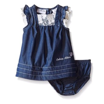 Harga Calvin Klein Baby Girls' Dark Blue Chambray Dress with Panty
