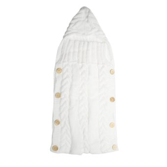 Harga Baby Swaddle Wrap Warm Wool Knitted Swaddling Blanket Sleeping Bag(White) - intl