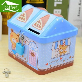 Harga Lovely house lockable drop resistance creative piggy bank piggy bank Christmas gifts for children of students prizes - intl