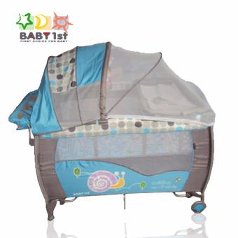Baby 1st P-516PA Portable Playpen Diaper Changer 2nd Decker with Rocker (Blue) Price Philippines