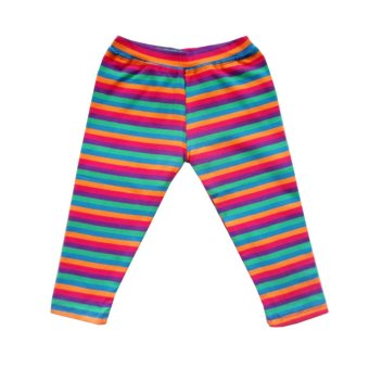 Flower Beans Colorful Stripes Medium-size Cotton Girls Leggings (Multicolor) Price Philippines