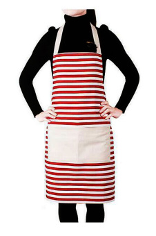 Cotton Canvas Women's Apron with One Convenient Pocket Durable Stripe Kitchen and Cooking Apron for Women Professional Stripe Chef Apron for Cooking, Grill and Baking Red - intl Price Philippines
