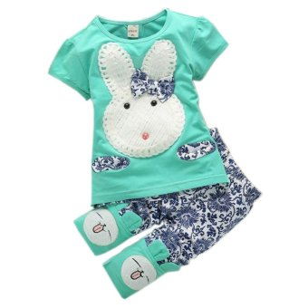 Harga 2Pcs Suit Baby Cute Rabbit Top+Short Pants Set green