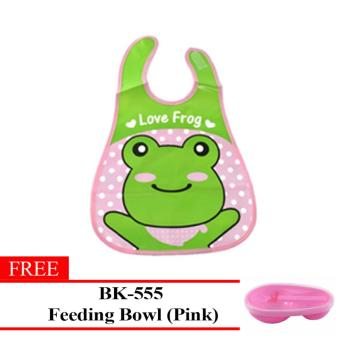 MMC Lovely Frog Baby Washable Plastic Feeding Bib(Pink) With Free BK-555(Pink) Price Philippines