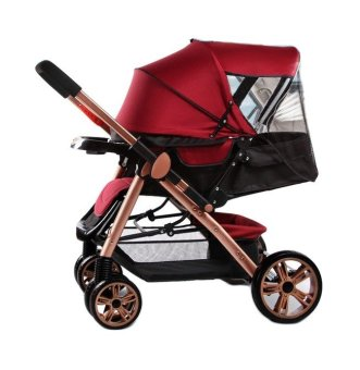 Angel Baby Two-way Four-wheel Folding Aluminum Alloy Baby Stroller (Red/Black) Price Philippines