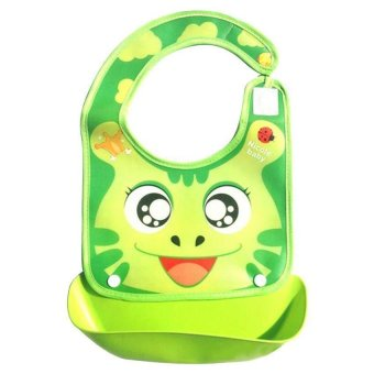 Harga Waterproof Silicone Bib Easily Wipes Clean Comfortable Soft Baby Bibs green